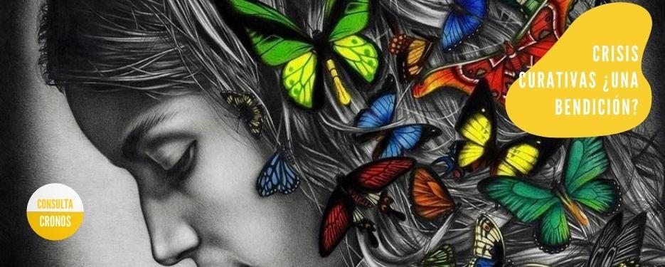 Crisis. Chica con mariposas en el pelo