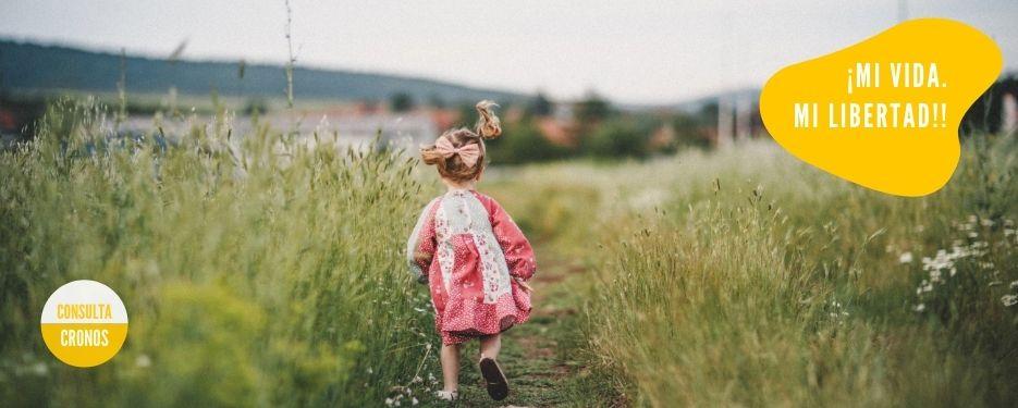 niña camina por el prado- vida